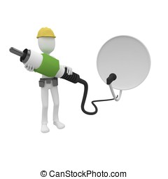 3d man cable guy with satellite dish and connect cable