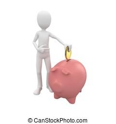 3d man with piggybank and golden coin