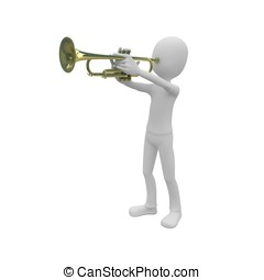 3d man with trumpet - 3d man playing golden brass trumpet on...