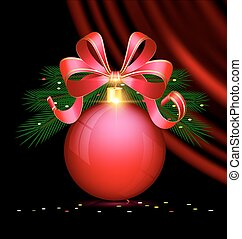 Christmas red ball and drape - black background, dark...