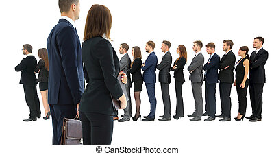 Profile of a business team in a single line against white...