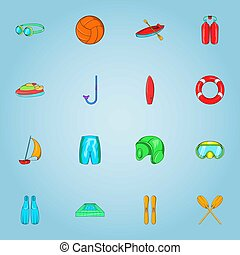 Water sports icons set, cartoon style