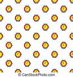 Round wrist watch pattern, cartoon style - Round wrist watch...