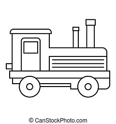 Locomotive icon, outline style - Locomotive icon. Outline...