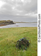 Creel on Oronsay - An old fishing creel on the Island of...