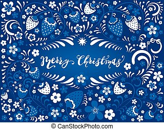 Khokhloma Winter Strawberry and Merry Christmas lettering -...