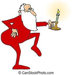 Santa tiptoeing with a candlestick - Illustration of Santa...