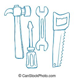 Tools Collection Sketch Illustration