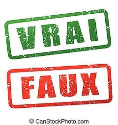 true and false stamp design