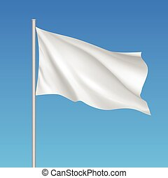 Vector white waving flag template.