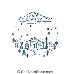 Vector flat linear winter landscape in round composition....