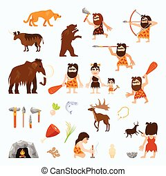 Stone Age Flat Icons Set - Stone age flat icons set with...
