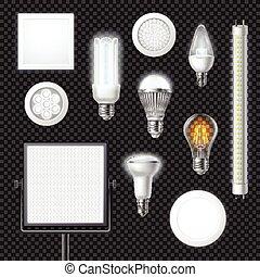 Led Lamps Realistic Transparent Set