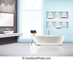 Bathroom Interior Realistic Design - Modern spacious sunlit...