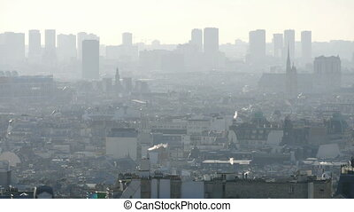 View of Pompidou Centre and Notre-Dame from Le Sacre-Coeur