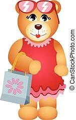 Girl teddy bear with shop bag