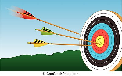 archery arrow in motion to target - one of three archery...