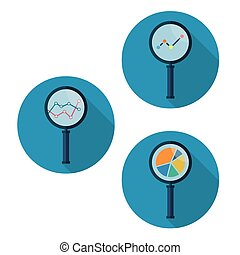 Set icons business analysis symbol with magnifying glass