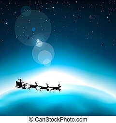 santa claus in space - Santa Claus is flying in space on the...