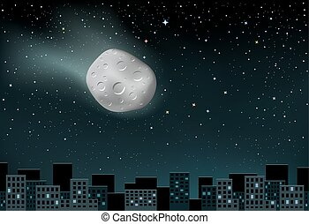 meteorite falls over the city - The large shining meteorite...