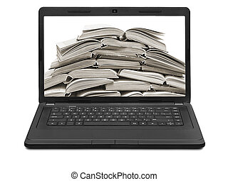 stack of books on a laptop screen isolated on white...