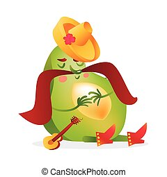 Avocado character with Mexican boots, sombrero and thick moustache sleeping