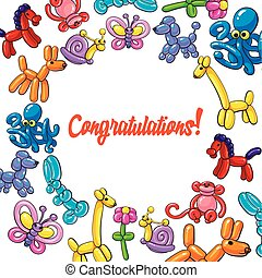 Greeting card, with round frame of twisted balloon animals
