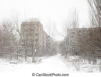 Chernobyl Exclusion Zone. Lost city. Ruins of buildings in...