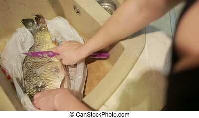 cleaning fish scales with a knife