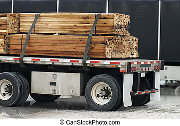 Semi with wood load  - Semi with wood load