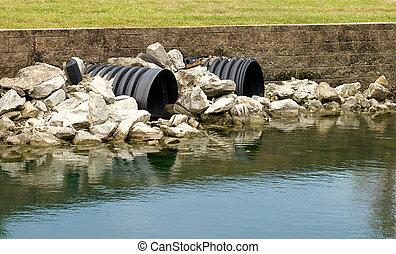 drenaggio, tubi per condutture, andare, lago