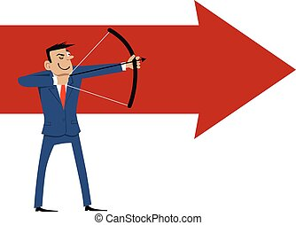 Shooting - Cartoon businessman shooting arrow, EPS 8 vector...