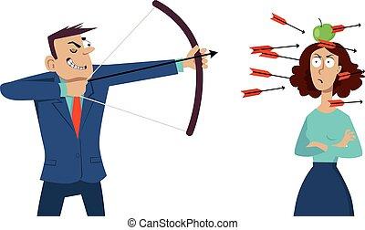 Verbal abuse - Smug businessman shooting arrows at the angry...