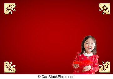 happy chinese new year - Smile Chinese woman dress...