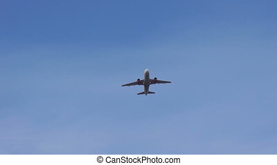 Airplane taking off from the airport. - Airplane in blue sky...