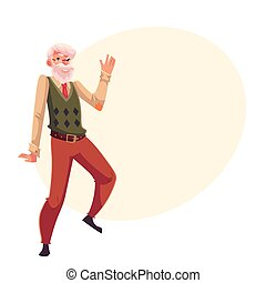 Old, senior, gray-haired man dancing happily, cartoon style...