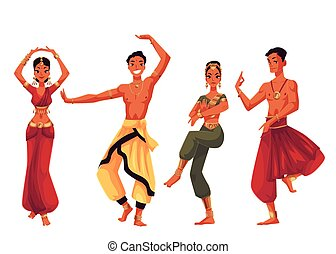 Male and female Indian dancers in traditional national...