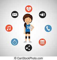 sport girl volleyball player graphic vector illustration eps...