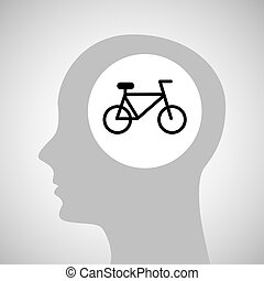 head silhouette bicycle extreme sport