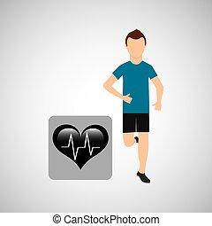 sport man running monitoring heart