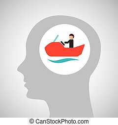 head silhouette water bike extreme sport vector illustration...