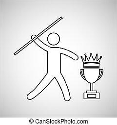 silhouette person javelin winner sport vector illustration...