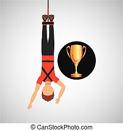 guy bungee jumper rope trophy sport design vector...