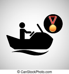 jet ski medal sport extreme graphic vector illustration eps...