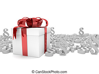 Gift Carton White Paragraphs - Gift carton with red ribbon...