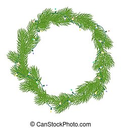 Natural Christmas wreath or a round frame with bright green...