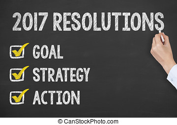 New Year Goals on Chalkboard Background