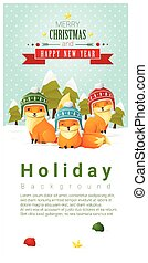 Merry Christmas and Happy New Year background with fox family 1