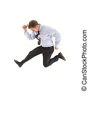 Businessman jumping in the air - Smiling young businessman...