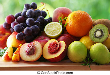 Assortment of juicy fruits on table